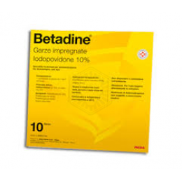 Betadine 10 garze impregnate 10% 10 cm x 10 cm 250 mg